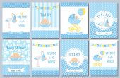 Baby Shower Card. Vector Baby Boy Design. Invite Banner. Cute Birth Party Background. Welcome Born T poster
