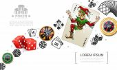 Realistic Gambling And Poker Elements Concept With Joker Playing Card Dices Colorful Casino Chips Ve poster