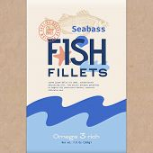 Fish Fillets. Abstract Vector Fish Packaging Design Or Label. Modern Typography, Hand Drawn Sea Bass poster