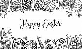 Easter Eggs Rectangular Frame With Plants And Greeting. Hand Drawn Outline Ink Vector Sketch Illustr poster