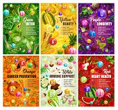 Color Diet Healthy Food And Vitamins In Fruits And Vegetables. Vector Organic Natural Nutrition Sala poster