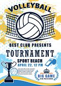 Volleyball Sport Match Tournament Poster. Vector Volleyball Championship Or Sport League Cup Competi poster