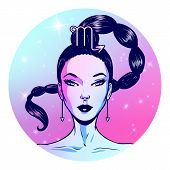 Scorpio Zodiac Sign Artwork, Beautiful Girl Face, Horoscope Symbol, Star Sign, Vector Illustration poster