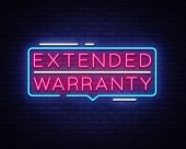 Extended Warranty Neon Sign Vector. Extended Warranty Template Neon Text, Light Banner, Neon Signboa poster