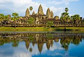 stock photo of ziggurat  - Angkor Wat Temple before sunset Siem Reap Cambodia - JPG