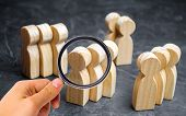 Groups Of Wooden People. The Concept Of Market Segmentation. Marketing Segmentation, Target Audience poster