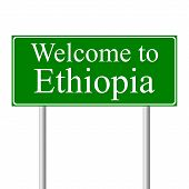 picture of ethiopia  - Welcome to Ethiopia concept road sign isolated on white background - JPG