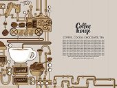 Vector Banner On Coffee Theme With A Cup Of Freshly Brewed Coffee, Plant With Conveyor Coffee Produc poster