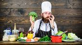 Vegetarian Meal. Organic Food. Fresh Ingredients Only. Culinary Recipe Concept. Man Bearded Hipster  poster