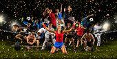 Huge multi sports collage taekwondo, tennis, soccer, basketball, football, bodybuilding, etc poster