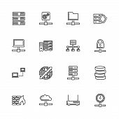 Network Servers Outline Icons Set - Black Symbol On White Background. Network Servers Simple Illustr poster