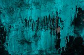Cracked Painted Wall Black In Abstract Style On Turquoise Paint Background. Rough Textured Rock. Abs poster