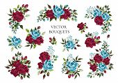 Set Of Bouquets Bordo And Navy Blue Flower Roses With Green Leaves. Floral Maroon Branch Flowers Arr poster