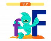 Letter F And Funny Cartoon Fish.  Animals Alphabet A-z. Cute Zoo Alphabet In Vector For Kids Learnin poster