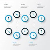 Tools Icons Colored Set With Drill, Nail, Pliers And Other Round Pliers Elements. Isolated  Illustra poster
