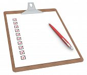 stock photo of x-rated  - Clipboard with Checklist X 10 and Pen - JPG