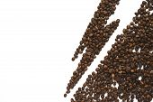 Warning Of Coffee Harmful Effect. Lightning From Coffee Beans Isolated On White Background. Healthy  poster