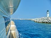Large Private Motor Yacht In Modern Style On Light Background. Travel Background. Luxury Cruise. Sum poster