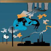 image of noise pollution  - Earth pollution illustration concept of a woman crouching - JPG