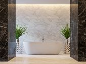 Luxury Bathroom 3d Render,there Are Black And White Marble Tile Wall And Floor.decorate With Chrome  poster