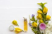 Natural Herbal Oils From Flowers Ylang Ylang Smells Scents Aroma Arrangement On Background White poster