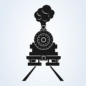 Old Train Front Icon Vector On White Background, Steam Train. Old Locomotive Pictogram Logotype. poster