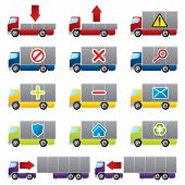 stock photo of 18 wheeler  - Various truck icon set for the web - JPG