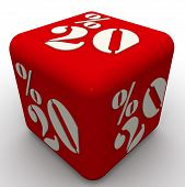 Cube Labeled 20 Percentages. Red Cube With White Text 20% Isolated On White Surface. 3d Illustration poster