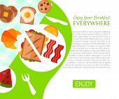 Breakfast Picnic In The Park Poster Vector Illustration. Good Mood. Breakfast On The Nature. Meeting poster
