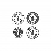 Lactose Free Circle Vector Sign For Packaging. Lactose Free Symbol, Milk Bottle Badge Label. poster