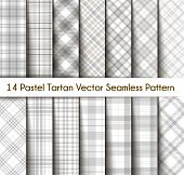 Set Tartan Seamless Pattern Background In Pastel Grey, Dusty Beige And White  Color  Plaid.  Flannel poster