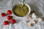 Green Spicy Guacamole In Bowl With Sweet Cherry Tomato Nice Snack poster