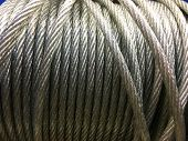 Closeup Of Heavy Duty New Steel Cable. Steel Wire Or Steel Sling.texture And Background poster