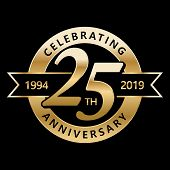 Celebrating 25 Years Anniversary Golden Label With Ribbon, Vector Illustration poster