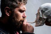 Habit To Smoke Tobacco Bring Harm To Your Body. Smoking Cause Health Damage And Death. Man Smoking C poster
