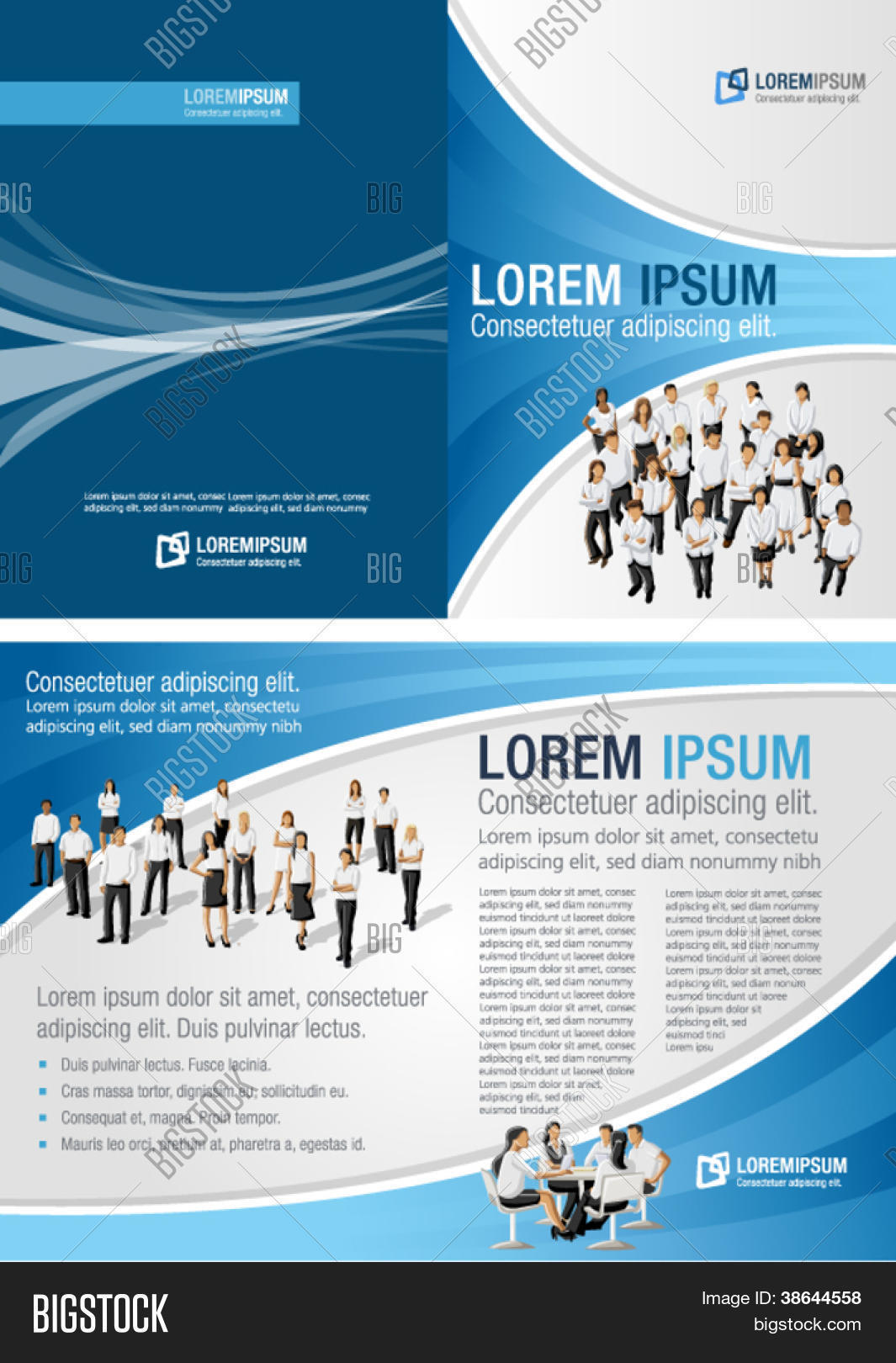 Blue template for advertising brochure with business people Stock ...