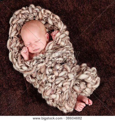 Cute little baby newborn boy sleeping - 10 days old