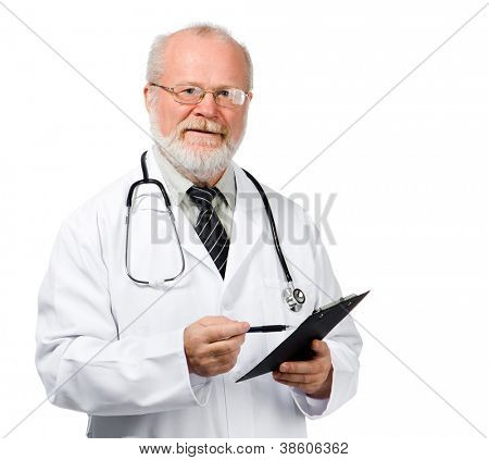 Portrait of a senior doctor writing reports isolated over white background