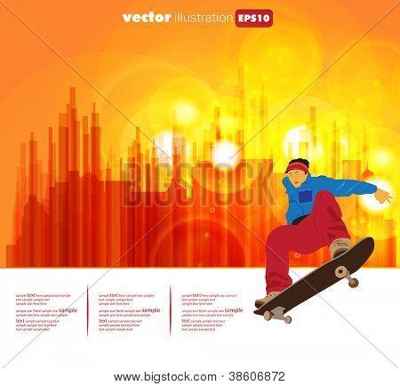 Skateboarder on street