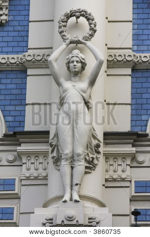 Detail On Jugendstil House In Riga