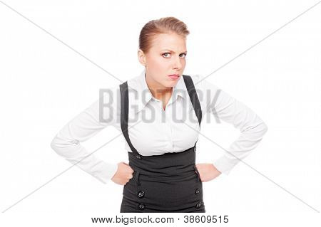 serious businesswoman looking with mistrust. isolated on white background