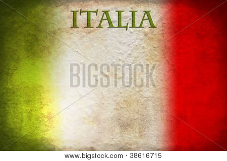 Traditional Italian flag on grunge background