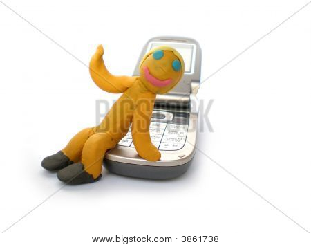 Plasticine Man Figure With Phone