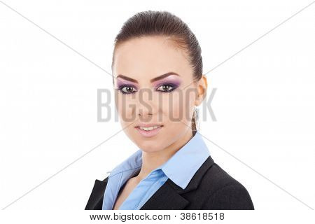 front view close up of a young business woman looking at the camera, on a white background