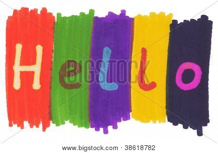 Hello, written with colorful felt tip marker ink pen.