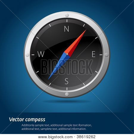 Black compass vector illustration.