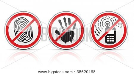 set of restrictive signs icons vector illustration isolated on white background EPS10.