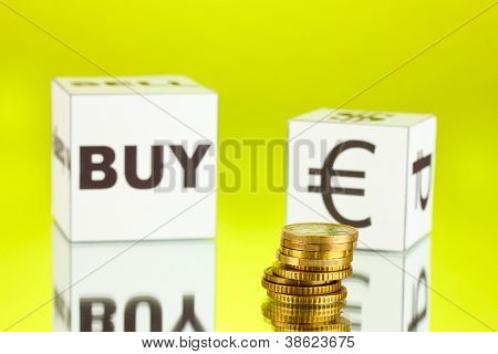 forex. currency in the white dices on green background