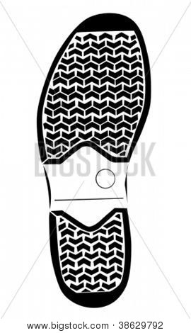 boot trace on white background , vector illustration