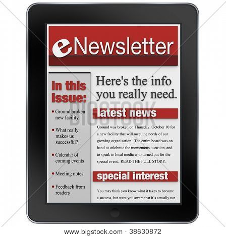 An enwsletter news alert update emailed to a tablet computer to keep you informed with important articles and product updates
